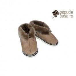 C006-Papuci casa din piele naturala pentru copii de 6-8 ani