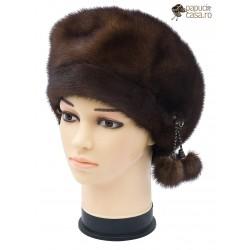 BF017 - Bereta din blana de nurca naturala pentru femei