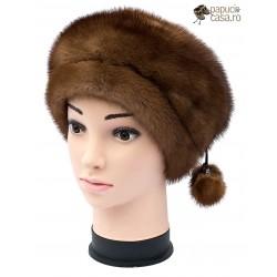 BF018 - Bereta din blana de nurca naturala pentru femei