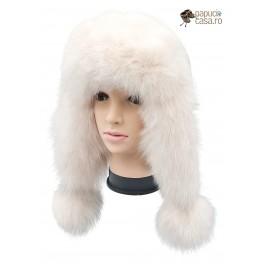 CBF006 - Caciula din piele si blana naturala de vulpe pentru tineret