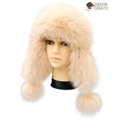 CBF009 - Caciula din piele si blana naturala de vulpe pentru tineret