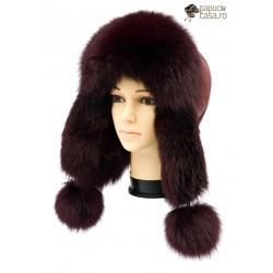 CBF012 - Caciula din piele si blana naturala de vulpe pentru tineret