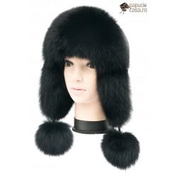 CBF018 - Caciula din piele si blana naturala de vulpe pentru tineret