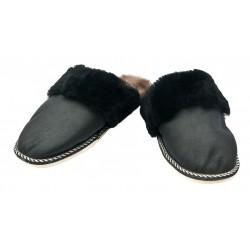 F007-Papuci casa din blana si piele naturala femei