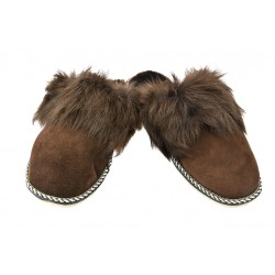 F008 - Papuci casa din blana si piele naturala femei