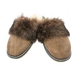 F009 - Papuci casa din blana si piele naturala femei
