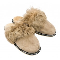 F010 - Papuci casa din blana si piele naturala femei