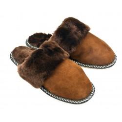 F011 - Papuci casa din blana si piele naturala femei