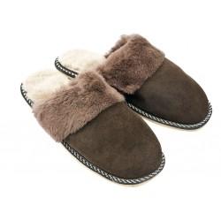 F012 - Papuci casa din blana si piele naturala femei