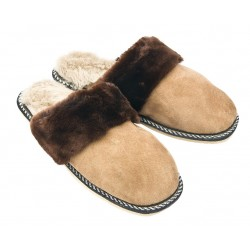 F013 - Papuci casa din blana si piele naturala femei