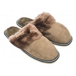 F014 - Papuci casa din blana si piele naturala femei