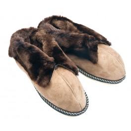 F018 - Papuci casa din blana si piele naturala femei (botosi)