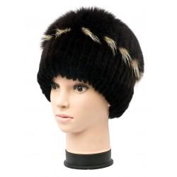 CF050 - Caciula din blana de rex-cincila cu vulpe polara cusuta pe fes tricot pt. femei/tineret