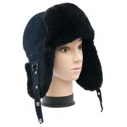 CBU001 - Caciula cu urechi din blana naturala ovina pentru barbati/tineret