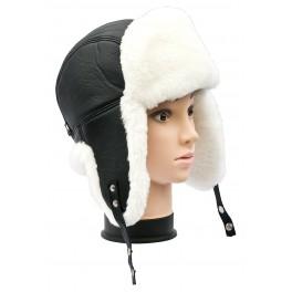 CBU003 - Caciula cu urechi din blana naturala ovina pentru barbati/tineret