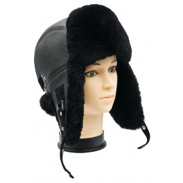 CBU004 - Caciula cu urechi din blana naturala ovina pentru barbati/tineret