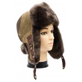CBU006 - Caciula cu urechi din blana naturala ovina pentru barbati/tineret