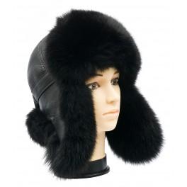 CBU008 - Caciula cu urechi din blana naturala de enot, raton, vulpe cu urechi pentru barbati si tineret