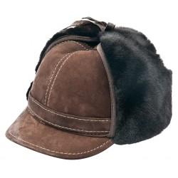 SB008 - Sapca din blana si piele de oaie pentru barbati