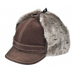 SB009 - Sapca din blana si piele de oaie pentru barbati
