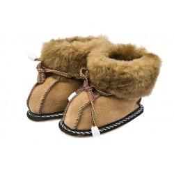 C007-Papuci casa din blana si piele naturala pentru copii