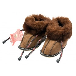 C011 - Papuci casa din blana si piele naturala pentru copii
