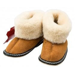 C012 - Papuci casa din blana si piele naturala pentru copii