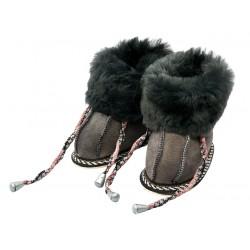 C013 - Papuci casa din blana si piele naturala pentru copii