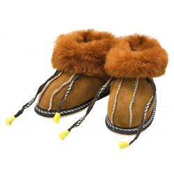 C014 - Papuci casa din blana si piele naturala pentru copii