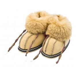 C015 - Papuci casa din blana si piele naturala pentru copii