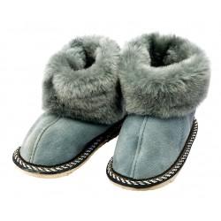 C016 - Papuci casa din blana si piele naturala pentru copii