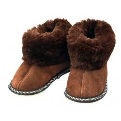 C017 - Papuci casa din blana si piele naturala pentru copii