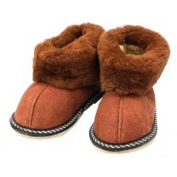 C018 - Papuci casa din blana si piele naturala pentru copii