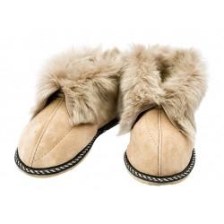 C020 - Papuci casa din blana si piele naturala pentru copii