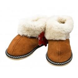 C021 - Papuci casa din blana si piele naturala pentru copii