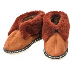 C023 - Papuci casa din blana si piele naturala pentru copii