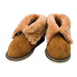 C024 - Papuci casa din blana si piele naturala pentru copii