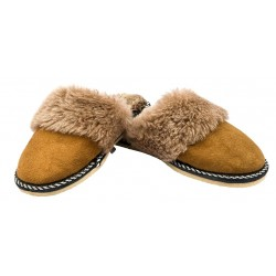 C025 - Papuci casa din blana si piele naturala pentru copii
