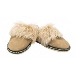 C027 - Papuci casa din blana si piele naturala pentru copii
