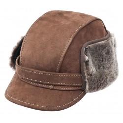 SB029 - Sapca din blana si piele de oaie pentru barbati