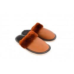 F002-Papuci casa din piele naturala femei