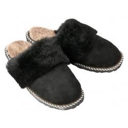 F033 - Papuci casa din blana si piele naturala femei
