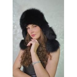 CBF020 - Caciula din piele si blana naturala de vulpe pentru tineret