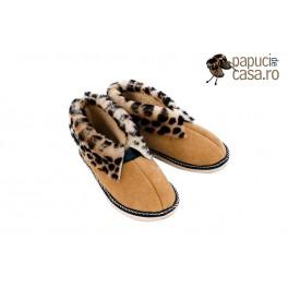 F004-Papuci casa din piele naturala femei