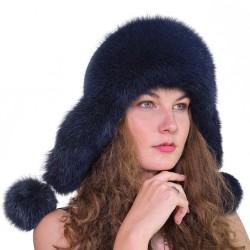 CBF016 - Caciula din piele si blana naturala de vulpe pentru tineret
