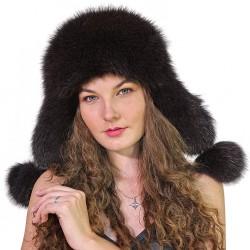 CBF019 - Caciula din piele si blana naturala de vulpe pentru tineret