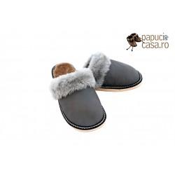 F006-Papuci casa din piele naturala femei