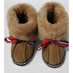 C010 - Papuci casa din blana si piele naturala pentru copii