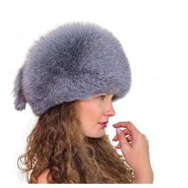 CF102 - Caciula din piele si blana naturala de vulpe pentru femei