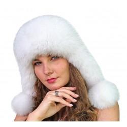 CBF008 - Caciula din piele si blana naturala de vulpe pentru tineret